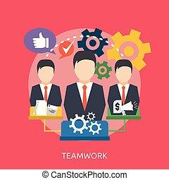 konceptualny, teamwork, projektować, ilustracja