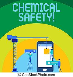 konceptualny, wręczać pisanie, pokaz, chemiczny, safety., handlowy, fotografia, tekst, praktyka, pomniejszając, ryzyko, ekspozycja, chemikalia, jakiś, środowisko, personel, pracujący razem, dla, tarcza, gol, z, seo, proces, icons.