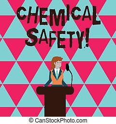 konceptualny, wręczać pisanie, pokaz, chemiczny, safety., handlowy, fotografia, tekst, praktyka, pomniejszając, ryzyko, ekspozycja, chemikalia, jakiś, środowisko, kobieta interesu, za, podium, mównica, rozmawianie, na, microphone.