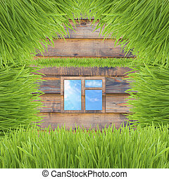 konceptualny, zielona trawa, dom, na, drewniany, tło