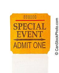 koncert, biletowy pniak, biały, wypadek, szczególny