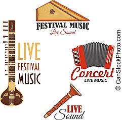 koncert, ikony, instrumentować, wektor, muzyka, muzyczny