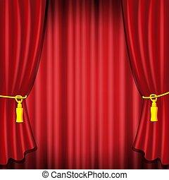 koncert, kino, scena, projektować, ceremonia, premiere., drapuje, szablon, wielki, spełnienie, czerwone firanki, otwarcie, ilustracja, zasłona, kurtyna, portiere, rusztowanie, teatr, opera, realistyczny, wektor, albo