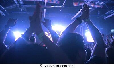 koncert, ludzie, skała, do góry, powolny-ruch, siła robocza, ciągnie