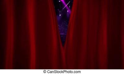koncert, otwarcie, lekki, błysk, kurtyna, czerwony