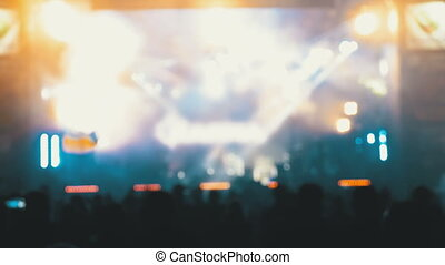 koncert, tłum, ludzie, festival., zamazany, muzyka, taniec, skała