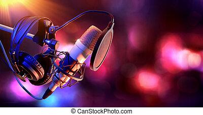 kondensator, ausrüstung, mikrophon, studio, leben, aufnahme