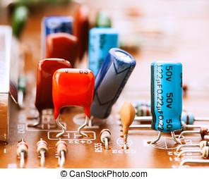 kondensatoren, widerstände, und, andere, elektronisch, komponenten, aufgestellt, auf, hauptplatine