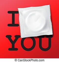 kondom, hos, tekst, jeg elsker dig