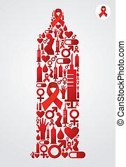 kondom, symbol, hos, hjælpemidler, iconerne