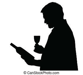 koneser, sylwetka, wybierając, butelka, wino, człowiek