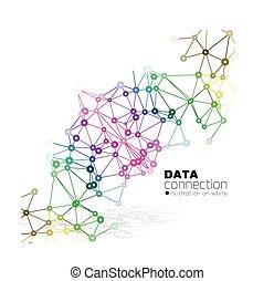 konexe, backgro, abstraktní, síť