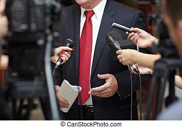 konference, firma, journalistik, mikrofoner, møde