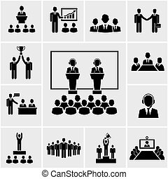konference, præsentation, ikoner branche
