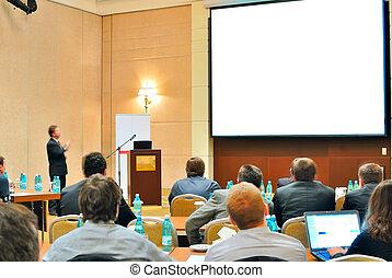 konference, præsentation, ind, aditorium