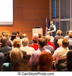 konference, presentation., taler, firma