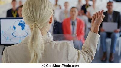 konferencja, adressing, samica, handlowy, mówiący, audiencja