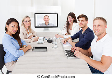 konferencja, chodząc, video, handlowy zaprzęg