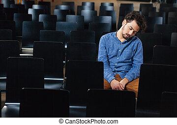 konferencja, człowiek, hala, spanie