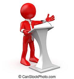 konferencja, czerwony, rozmawianie, człowiek