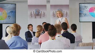 konferencja, handlowy, samica, adresując, mówiący, audiencja