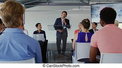 konferencja, handlowy, samiec, mówiący, audiencja, adresując