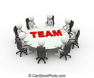konferencja, handlowy zaludniają, drużyna, stół, spotkanie, ...