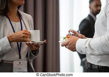 konferencja, handlowy zaludniają, symbole, kawa