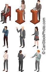 konferencja, isometric, komplet, polityczny, styl, ikona