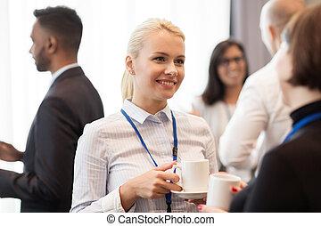 konferencja, kawa, symbole, handlowy zaludniają