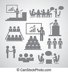 konferencja, kierownictwo, handlowy, ikona