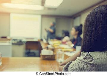 konferencja, kobieta, pokój, handlowe spotkanie, mglisto