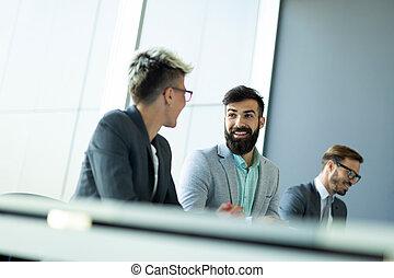 konferencja, koledzy, pokój, handlowy, podczas, spotkanie