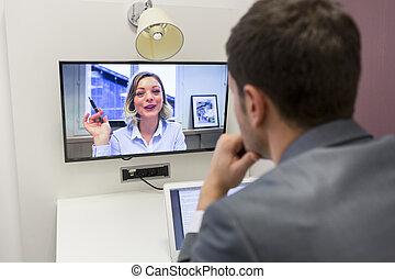 konferencja, kolega, Biuro, jej, praca,  video, biznesmen