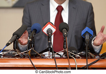 konferencja, mikrofony, handlowy