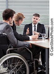 konferencja, niepełnosprawny, pracownik, stół, następny