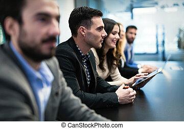 konferencja, obraz, pokój, businesspeople, spotkanie, posiadanie