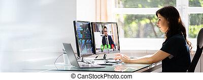 konferencja, online spotkanie, oglądając video