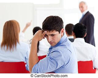 konferencja, pociągający, znudzony, biznesmen