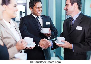 konferencja, podczas, interacting, handlowy zaludniają