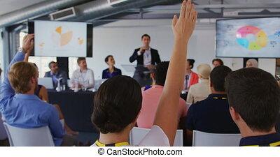 konferencja, pytania, handlowy, biznesmen, zapraszając, ...