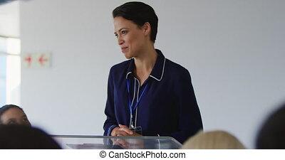 konferencja, samica, handlowy, mówiący, audiencja, adresując