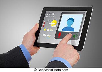 konferencja, tabliczka, video, biznesmen, używając, online...