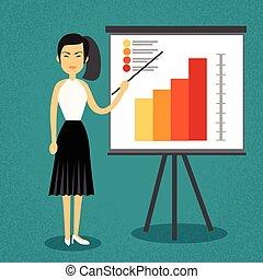 konferencja, trening, kobieta, finansowy, handlowy, wykres, ...