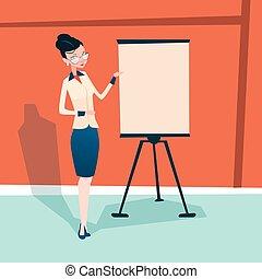 konferencja, trening, kobieta handlowa, trzepnięcie mapa ...