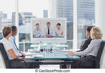 konferencja, video, drużyna, posiadanie, handlowy