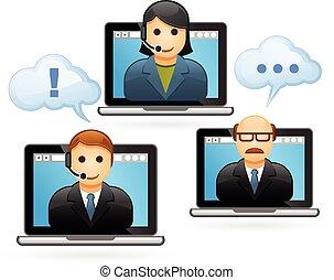konferencja, video, handlowy zaludniają