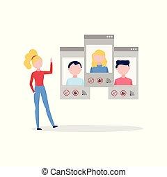 konferencja, video, kobieta, grupa, ludzie., odwrotny, parawany, smartphone, rozmowa telefoniczna, pogawędka, online, używając