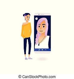 konferencja, video, pojęcie, pogawędka, cielna, odwrotny, młoda kobieta, rozmowa telefoniczna, inny, używając, dziewczyna, smartphone.