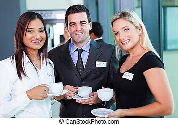 konferencja, złamanie, kawa, handlowy